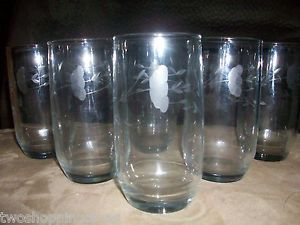 Princess House Heritage Etched Crystal Water Juice Drinking Glasses Tumbler S
