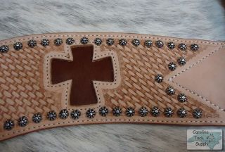 Cross Cutout Steer Tripping Breast Collar w Genuine Cowhide Inlay New Horse Tack