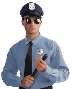 Adult Police Officer Kit Halloween Costume Accessory Hat Glasses Badge Club