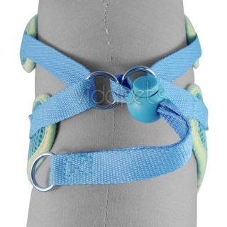 "13 17"" Girth Blue Sports Comfort Dog Harness Vest Collar Small Nylon 4ft Leash"