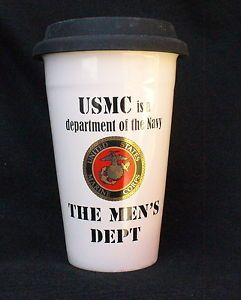 USMC Marine Corps Seal Travel Mug Cup Dept of The Navy Men's Dept