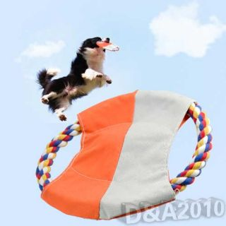 Cotton Rope Pet Dog Puppy Training Frisbee Throw Flyer Toy Squeaker Playing Gift