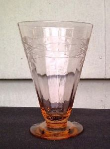 Vintage Pink Depression Glass Etched Floral Pattern Footed Desert Wine Glass