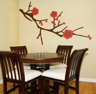 "Small Red Cherry Blossom Branch Printed Wall Decal Vinyl Home Decor Art 12""X20"""