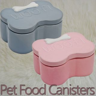 Cute Ceramic Bone Shaped Dog Puppy Food Water Bowl Feeder Lid Storage Canister