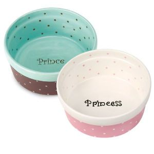 Pet Studio Ceramic Polka Dot Prince Princess Dog Cat Dishes Bowls