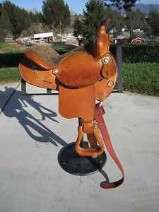 "Crates Horse Saddle Western Barrel Racing Trail Tack Equine 13"" 1984 Leather 310"