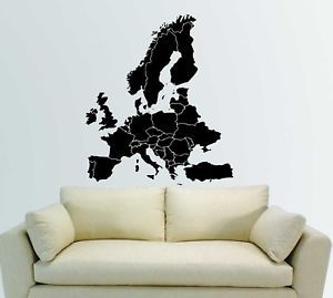 Europe European Map Atlas Wall Mural Decor Vinyl Decal