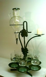 Vintage Etched Glass Wine Aerator Decanter Dispenser Wrought Iron w 6 Glass