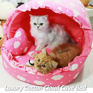 Luxury Pet Bed Baby Pink Cotton Cloud Large House Plush Cave Bed for Dog Cat