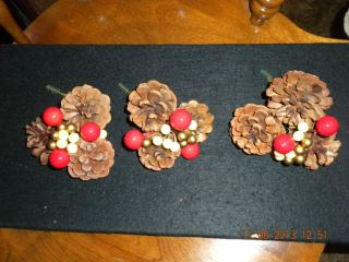 3 Christmas Pine Cone Berry Picks Wreaths Crafts Centerpieces New