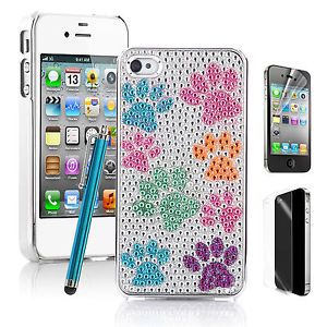 Pen Bling Diamond Crystal Cute Dog Footprint Hard Case Cover for iPhone 4 4S 4G