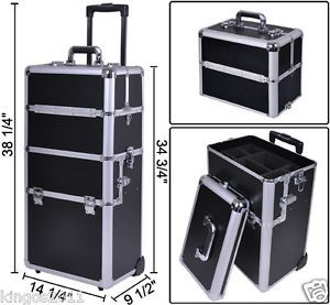 2in1 Makeup Artist Aluminum Rolling Cosmetic Train Case Black Hair Style Box Kit