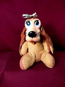 Vintage 1964 Mattel T Bone Talking Pull String Rubber Faced Dog Stuffed Doll Toy