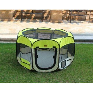 New Large Yellow Pet Dog Cat Tent Playpen Exercise Play Pen Soft Crate