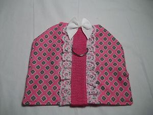 Handmade Small Dog Puppy Pink Clothes Pet Harness Dog Supplies Length 6""