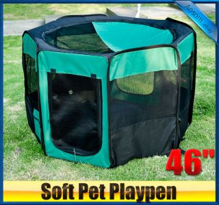 "New 46"" 2 Door Soft Pet Playpen Exercise Cage Dog Pen Puppy Kennel Green"