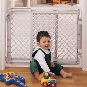 North States Baby Pet Gate Child Safety Infant Walk thru Dog Easy Door White New