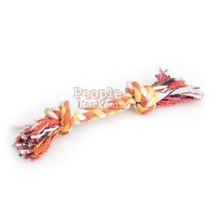 20cm Funny Puppy Pet Dog Chew Cotton Braided Rope 2 Knot Tug Toy Chew Toy Hot