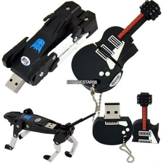 Hot Guitar Robot Dog Shaped 8GB USB Flash Pen Drive Disk Memory Stick Etds