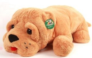 "Large Plush Stuffed Toy Shar Pei Dog Pillow 35""Long"