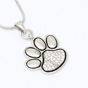 Animal Dog Cat Pet Paw Print Crystal Pendant Necklace VP393