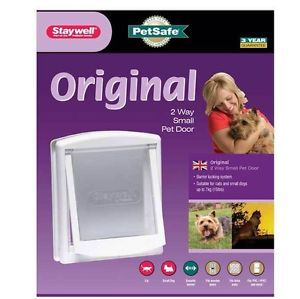 Staywel PetSafe 715 Small White Pet Dog Cat Door Flap 2 Way Lockable