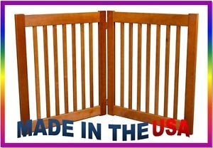 "New Pet Dog 2 Panel 32"" Tall Expandable Wide Wood Wooden Gate Door Fence Bronze"