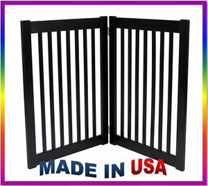 "New Pet Dog 2 Panel 32"" Tall Expandable Wide Wood Wooden Gate Door Fence Black"