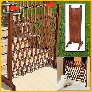 2 New Expandable Portable Wood or Wooden Fence Child Baby Pet Kid Door Gate