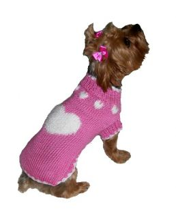 Puppy Love Pink Knit Pet Dog Sweater Clothes