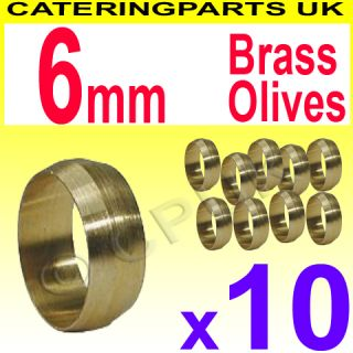 Pack of 10 6mm Brass Olives for Copper Tubing Pipework Pilot Tube Fittings