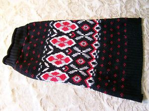 Nordic Fair Isle Black Red White Dog Sweater L