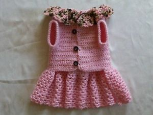 Crocheted Pet Dog Clothes Apparel Sweater Dress Coat Baby Pink Small