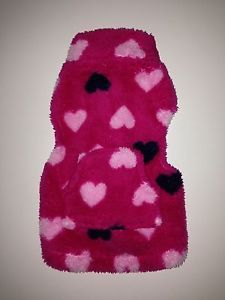 Medium Pet Puppy Dog Cat Mini Pig Pink Hearts Fleece Sweater Vest Jacket