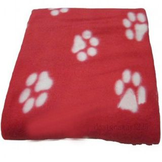 Hot Soft Handcrafted Cozy Warm Paw Prints Pet Cat Dog Fleece Blanket Mat Red