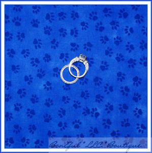 BonEful Fabric FQ Blue Royal Little Texture Puppy Dog Cat Kitty Paw Print Cotton