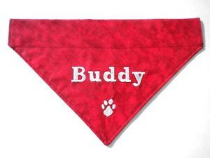 Personalized Custom Embroidered Pets Name and Paw Print Slide on Dog Bandana