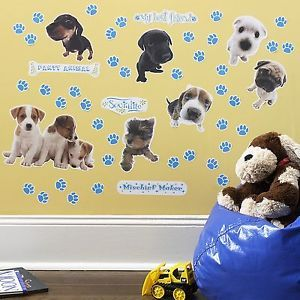 The Dog 50 Big Vinyl Wall Stickers Room Decor Decals Blue Paw Prints Party New