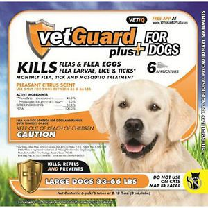 6 Month Supply Vetguard Plus Large Dog 33 66 lbs Flea Tick Control Treatment