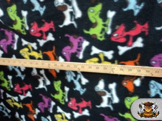 Polar Fleece Fabric Printed Dog Bone BTY