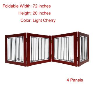 Wood Pet Gate Freestanding Folding Cat Dog Door Adjustable Portable Safety Fence