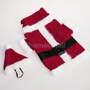 Pet Dog Santa Claus Costume Christmas Xmas Sweater Clothing Belt Design w Hat S
