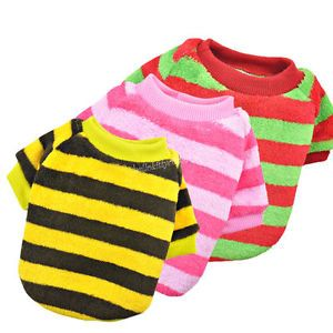 Casual Canine Striped Fleece Dog Clothes Shirt Sweater Pet Clothes Apparel Coat