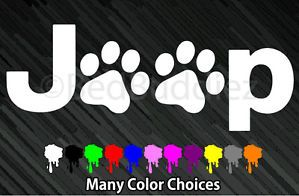 Jeep Wrangler Cat Dog Paw Paws Print Feet Vinyl Car Decal Decals Sticker Window