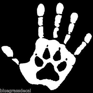 Hand Print Dog Paw Vinyl Window Decals Stickers Shelter Animal Rescue Puppy Salt