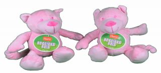 Lot of 2 Hartz Precious Pals Plush Pink Bears Dog Toy with Squeaker