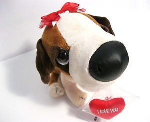 Big Head First Dog Love Heart Bow Plush Animal Doll Toy
