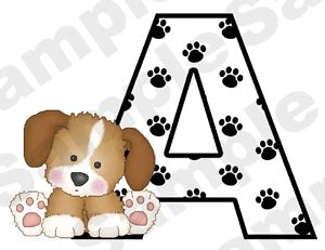 Puppy Dog Alphabet Letter Name Paw Prints Baby Nursery Kids Wall Stickers Decals