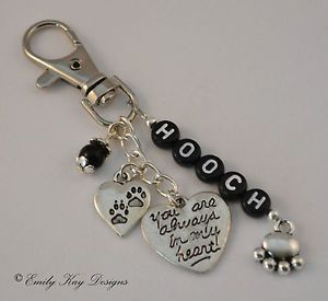 Pet Loss Cat Dog Memorial 'Paw Prints on My Heart' Personalised Key Bag Charm